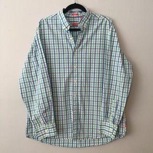 IZOD Slim Fit 100% cotton plaid dress shirt EUC